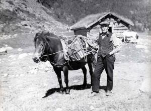 """Kjetil Viken med kløv ved Rogneroe i Vikdalen ca 1940? (Fra """"Bondal i Telemark - Stuler og stulsdrift"""" av Trygve Nes)"""